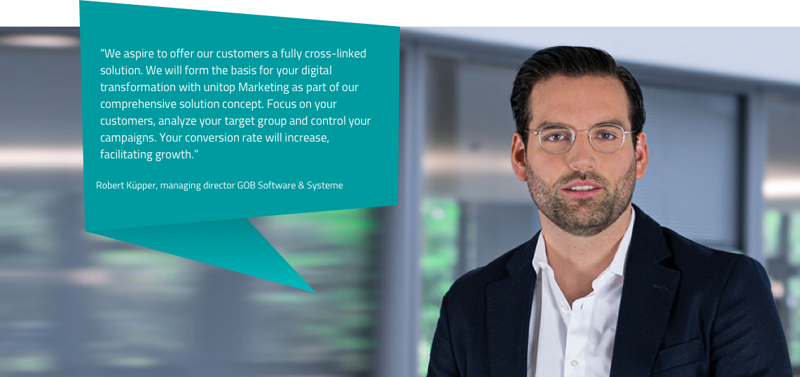 The image shows a statement by Robert Küpper, Managing Director of GOB Software & Systeme