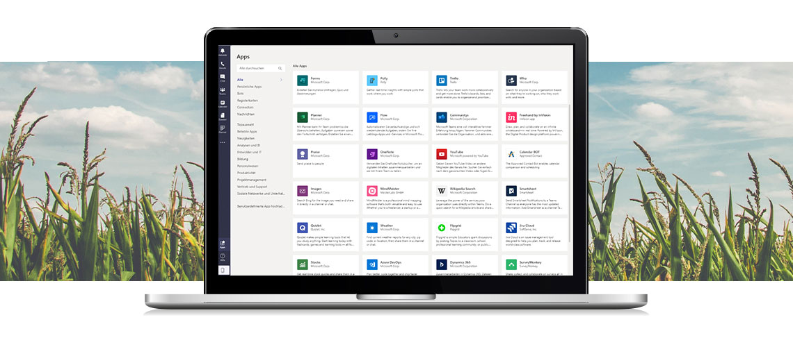 The picture shows an overview of apps in Microsoft teams